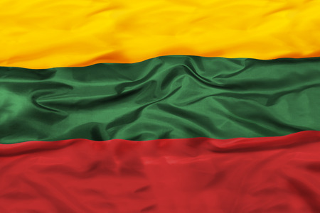 Lithuania national flag with waving fabric 版權商用圖片