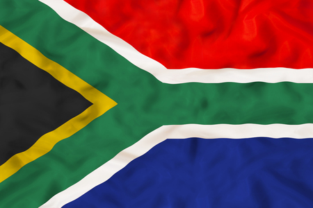 South Africa national flag with waving fabric