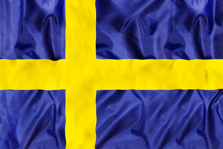 Sweden national flag with waving fabric Banco de Imagens - 101254508