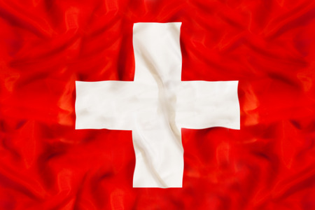 Swiss national flag with waving fabric Stok Fotoğraf - 101267709