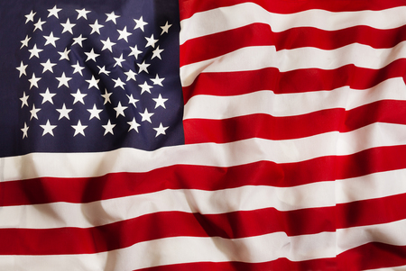 USA national flag with waving fabric Banque d'images