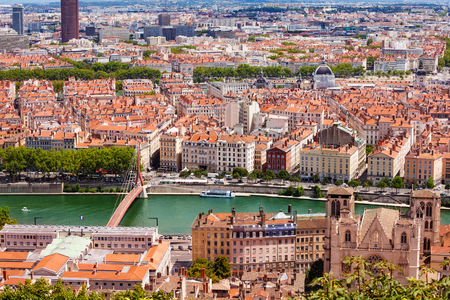 Top view of Lyon cityscape with the Saone river Фото со стока