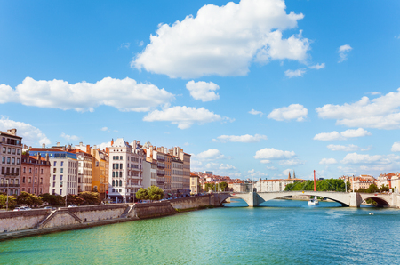 Lyon quay with Pont Bonaparte across Saone river