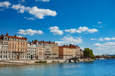Ancient buildings on the Saone river bank, Lyon
