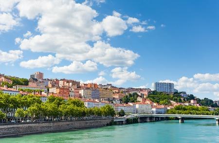 Beautiful view of the Rhone river embankment, Lyon