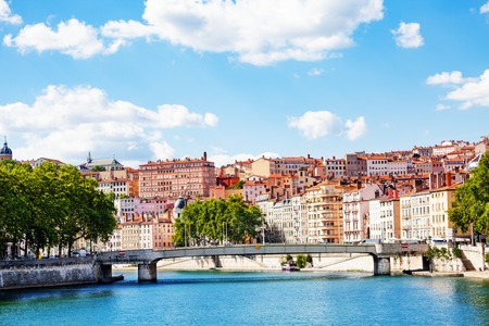 Cityscape of Lyon with La Feuillce bridge, France