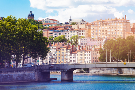 Pont de La Feuillee road bridge across the Saone River Lyon, France Stockfoto