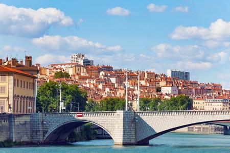Lyon cityscape with the Pont Bonaparte road bridge