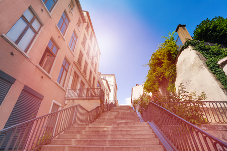Stairway going up in old district of Lyon, France Stock Photo