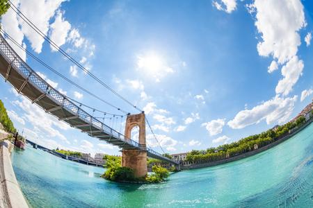 Passerelle du College bridge over Rhone in Lyon Stock Photo