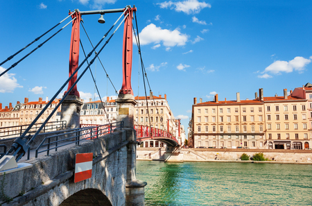 Saint Georges bridge across the Saone river, Lyon