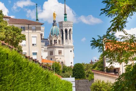 Notre Dame de Fourviere basilica in Lyon, France Stok Fotoğraf