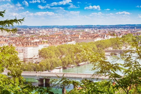 View of Lyon with bridges across the Rhone river Stock Photo