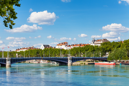Lafayette bridge across the Rhone River in Lyon Stock Photo