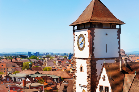 Freiburg city view with Schwabentor tower, Germany