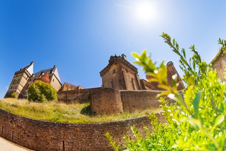 Fish-eye picture of Chateau de Biron castle Stock Photo