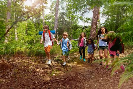 Group of kids on hiking walk holding hands Banco de Imagens