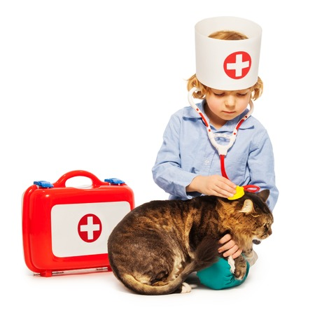 Little boy playing doctor veterinarian with a cat Stock Photo