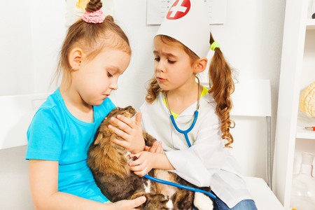 Girls playing vets with stethoscope and cat