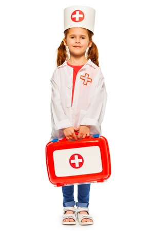 Beautiful little girl dressed like a doctor Standard-Bild