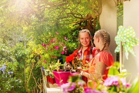Two beautiful girls planting geranium in pots Imagens
