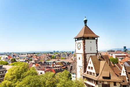 Freiburg cityscape with Schwabentor tower, Germany