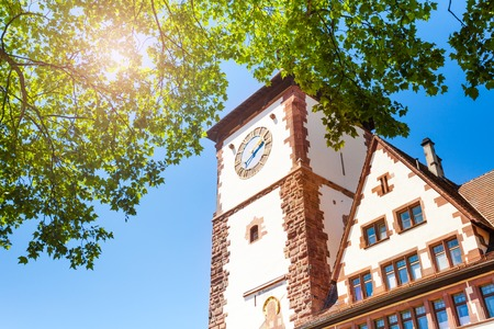 Medieval Schwabentor tower in Freiburg, Germany Stock Photo