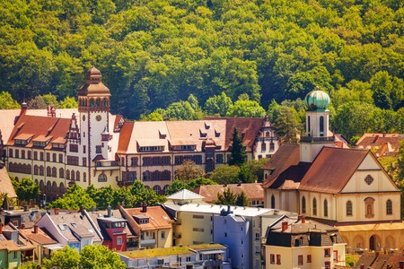 Beautiful cityscape of medieval Freiburg in summer