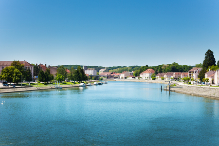 Panorama of Saone river from bridge in Gray town