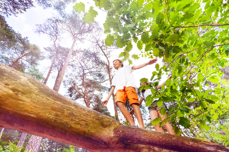 Boy and girl walking over the log summer activity
