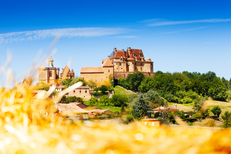 Medieval hill top village of Biron in France Stock Photo