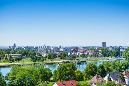 Strasbourg and Passerelle des Deux Rives from Kehl