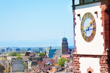 Freiburg cityscape with Schwabentor clock tower