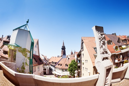 Cityscape of Freiburg with Munster cathedral tower Stock Photo