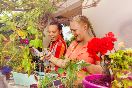 Two teenage girls planting flowers on the terrace