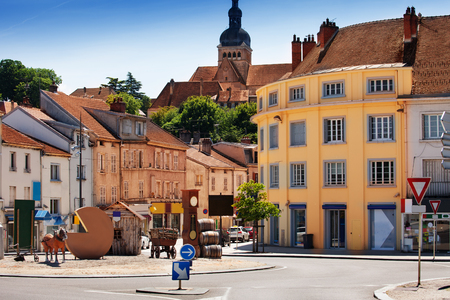 Central square near the bridge, Gray town, France