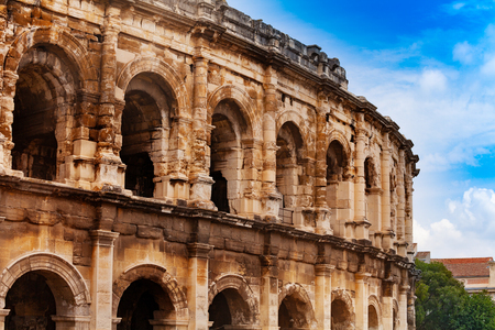 Coliseum antique amphitheater in Nimes, France