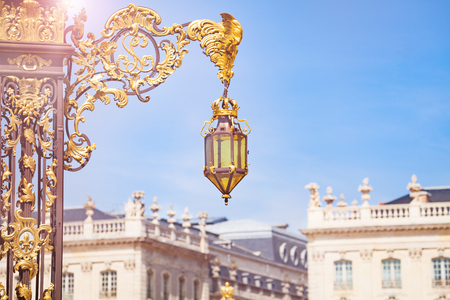 Lamp on gates to Place Stanislas, Nancy, France 스톡 콘텐츠