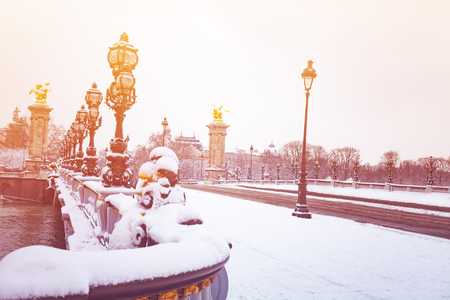 Pont Alexandre III under snow, Paris, France Stock fotó