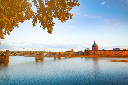 Panorama of Garonne river embankment in Toulouse