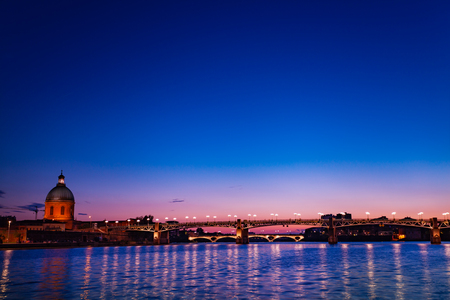 Beautiful night view of Garonne river in Toulouse Stock Photo