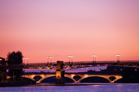 Garonne river bank during sunset, Toulouse, France