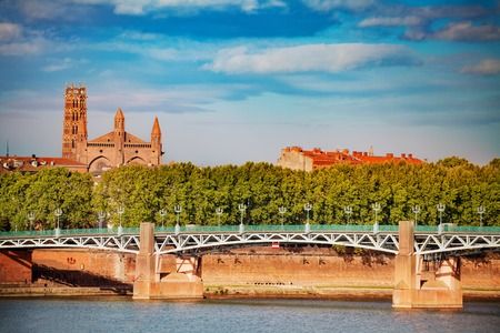 Garonne river embankment in summer, Toulouse