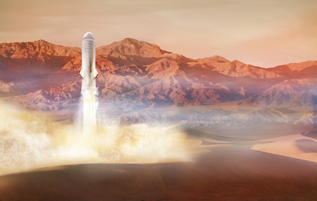 Big rocket lands or take off from Mars surface 免版税图像