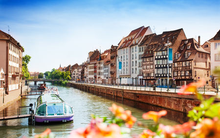 Cityscape of Strasbourg and Ill river in spring Stock Photo