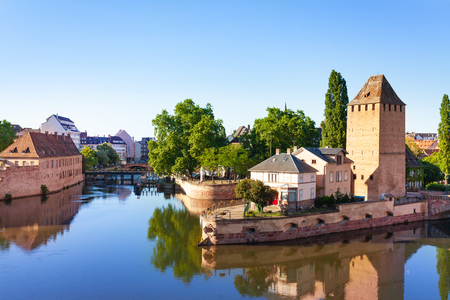 Rampart and tower at Grande Ile island, Strasbourg