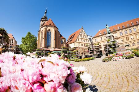 Stuttgart Schillerplatz square in spring, Germany EU