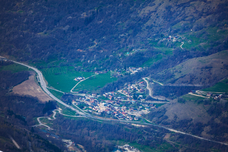 Aerial view of les Arcs valley in France, Europe