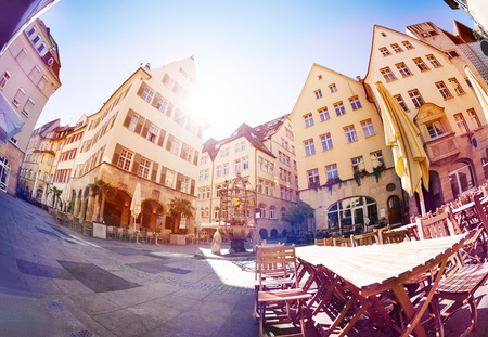 Stuttgart streets with old houses and cafes