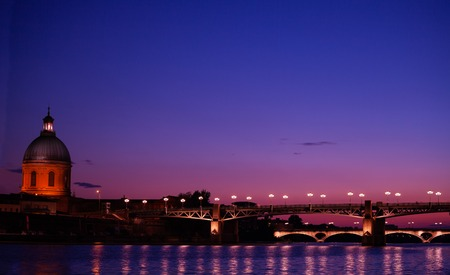 Sunset at Garonne river in Toulouse, France